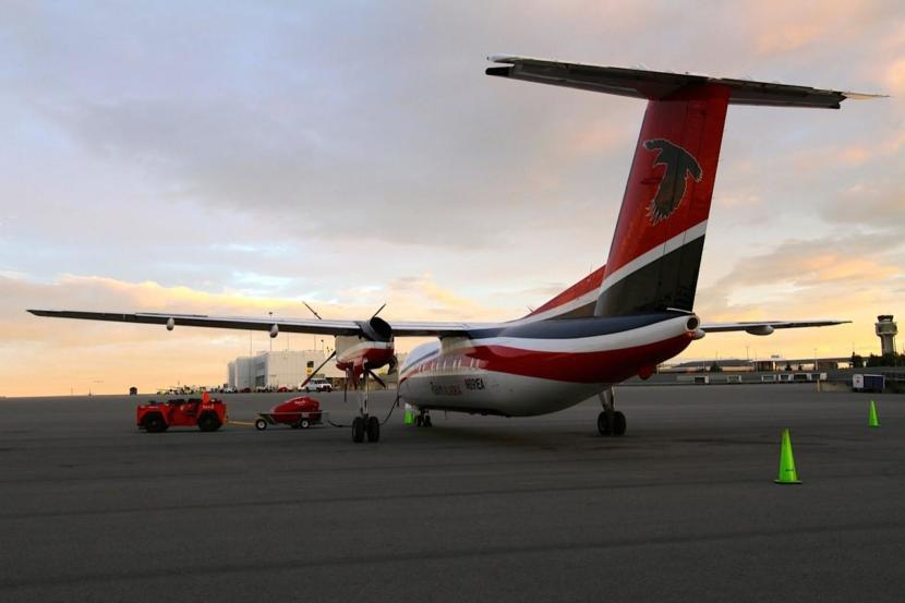 A RavnAir plane sits on the tarmac at Ted Stevens Anchorage International Airport. (Courtesy RavnAir)