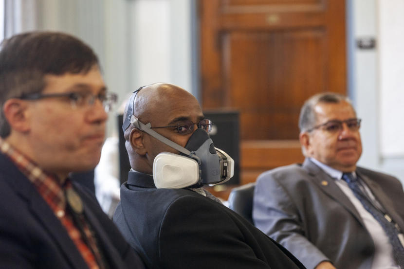 Sen. David Wilson, R-Wasilla, was the only legislator on the Senate Finance committee who chose to wear a mask on Monday, May 18, 2020, in Juneau, Alaska. (Photo by Rashah McChesney/KTOO)