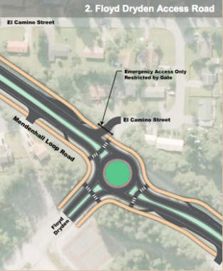 A concept drawing of an intersection at the Floyd Dryden Access Road where the Department of Transportation is set to begin construction on a roundabout on June 1. (Graphic courtesy/Department of Transportation)