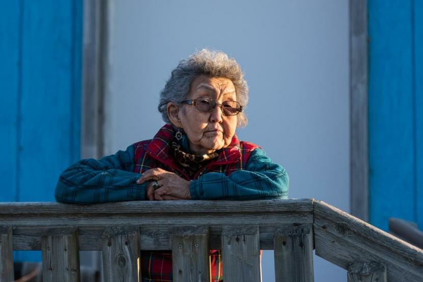 Bethel Elder Esther Green reflects on past pandemics, and lessons learned through stories passed down in the Yukon-Kuskokwim Delta. Green stands outside her home during the coronavirus pandemic on April 30, 2020 in Bethel, Alaska.(Katie Basile/KYUK)