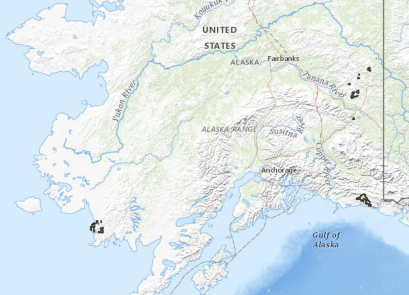 Public domain map from the Bureau of Land Management denoting areas currently available for land allotments for Alaska Native veterans who served in the Vietnam War.