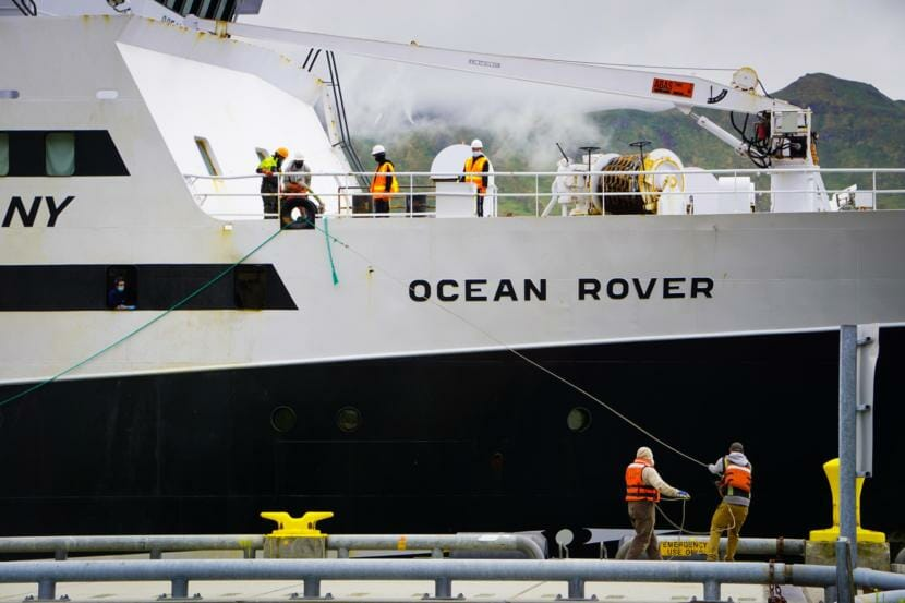 The F/V Ocean Rover left Bellingham, Washington on May 29, and arrived in the Port of Dutch Harbor Sunday evening after a voyage of 16 days, 15 hours. (Hope McKenney/KUCB)