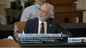 Video still showing Rep. Dan Newhouse at a House Appropriations Committee hearing