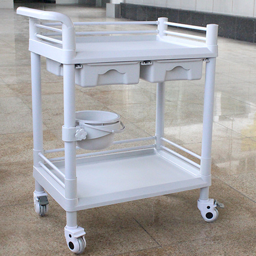 2-Tier ABS Beauty Salon Trolleys with Universal Wheel and Armrest, double Drawers & Dirt Bucket, Medical Service Cart for Laboratory, Beauty Salon, Clinic, Hospital