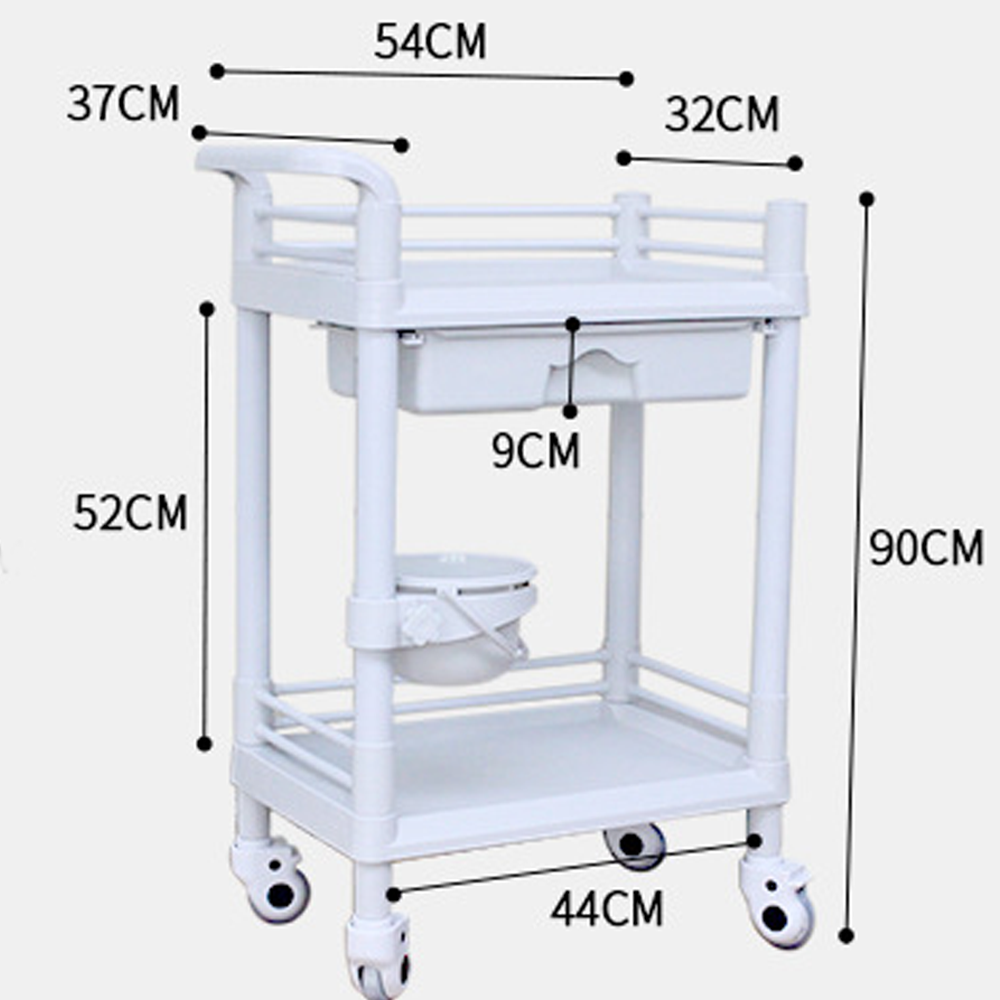 2-Tier ABS Beauty Salon Trolleys with Universal Wheel and Armrest, single Drawers & Dirt Bucket, Medical Service Cart for Laboratory, Beauty Salon, Clinic, Hospital