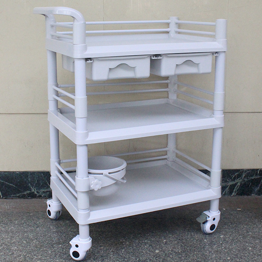 3-Tier ABS Beauty Salon Trolleys with Universal Wheel and Armrest, double Drawers & Dirt Bucket, Medical Service Cart for Laboratory, Beauty Salon, Clinic, Hospital