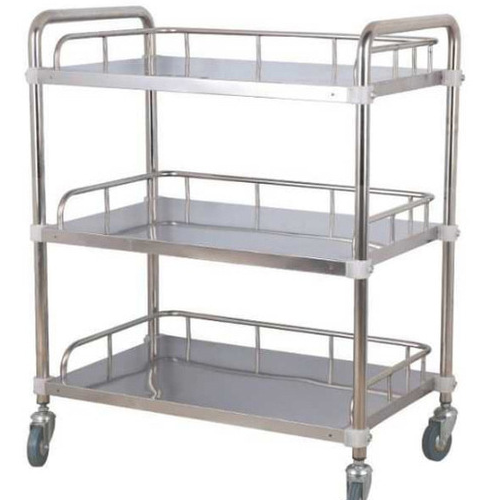 3-Tier Stainless Steel Beauty Salon Trolleys with Universal Wheel and Armrest, Medical Service Cart for Laboratory, Beauty Salon, Clinic, Hospital