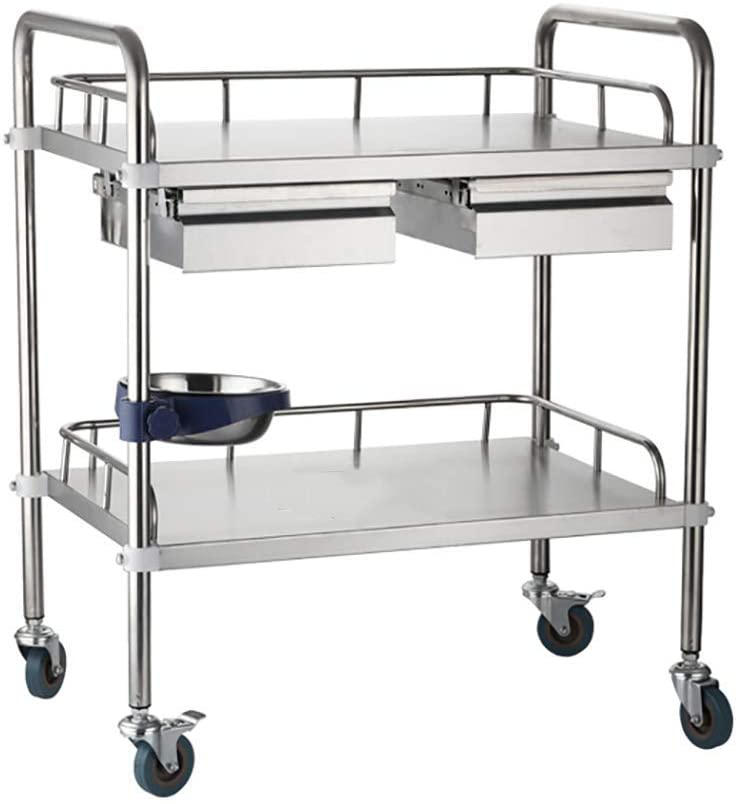 2-Tier Stainless Steel Beauty Salon Trolleys with Universal Wheel and Armrest, double Drawers & Dirt Bucket, Medical Service Cart for Laboratory, Beauty Salon, Clinic, Hospital