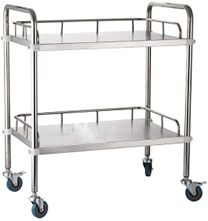 2-Tier Stainless Steel Beauty Salon Trolleys with Universal Wheel and Armrest, Medical Service Cart for Laboratory, Beauty Salon, Clinic, Hospital