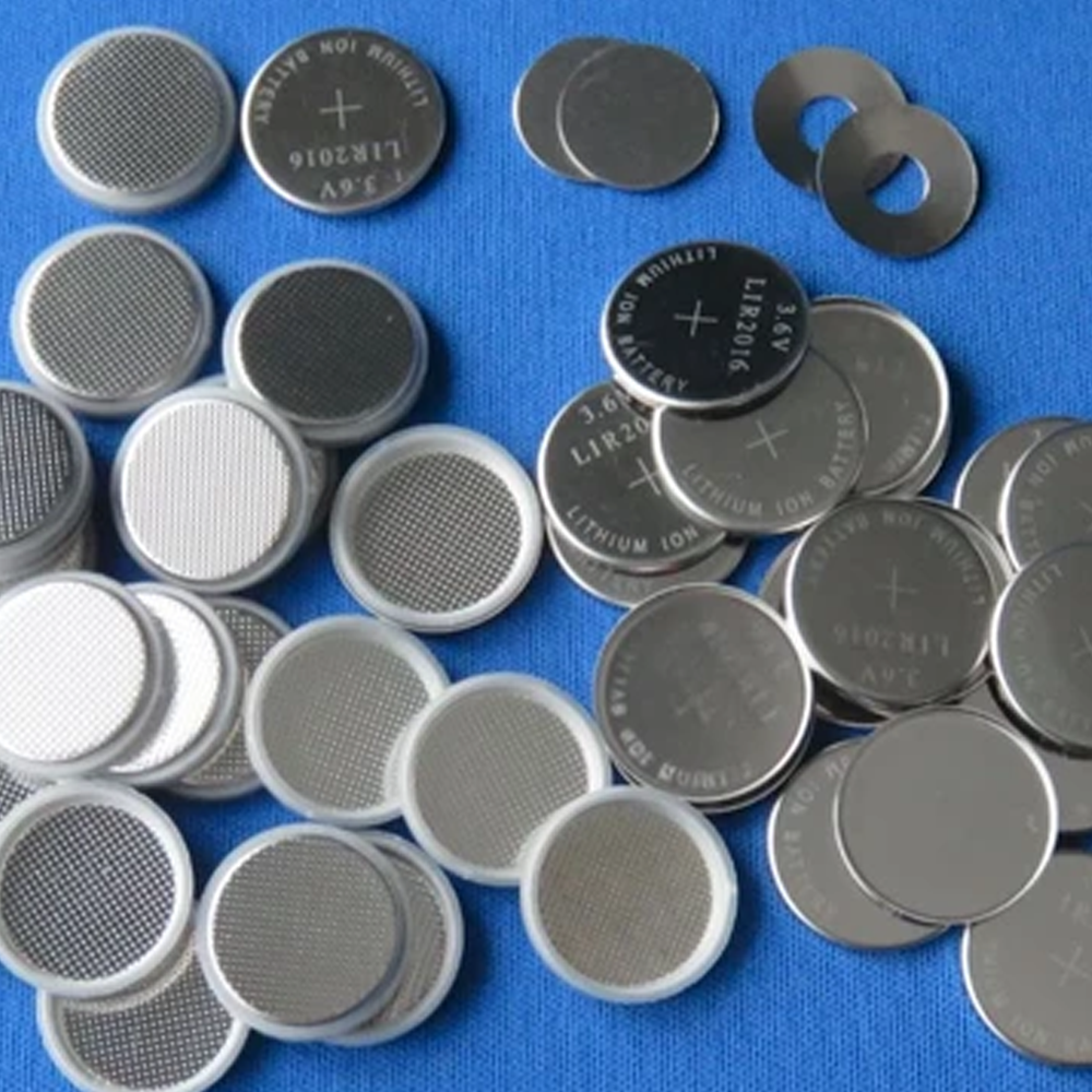 CR2032 SS 304 Coin Cell Case set, incl. top cover, bottom container, spacer, and spring – 100sets/pack