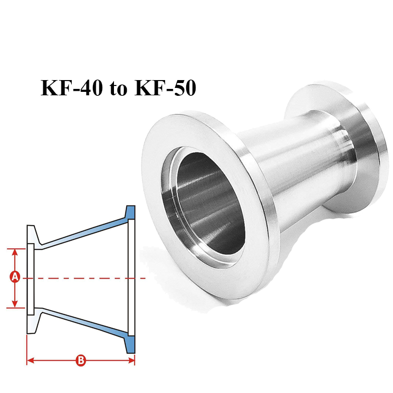 KF-40 to KF-50 Vacuum Fittings Flange Size NW-40 to NW-50 Reducer Conical