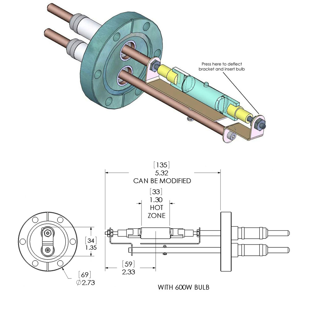 Infrared Vacuum Chambers Bakeout Heaters Additional Flange Assy