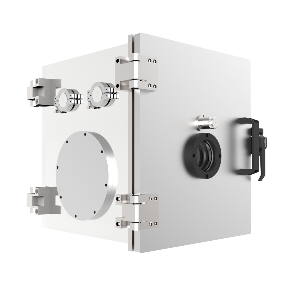 16 in Cubic Vacuum Chamber, Preconfigured with KF and ISO Flanges and User Selectable Latching Door, Stainless Steel