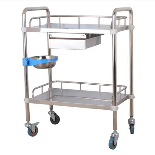 2-Tier Stainless Steel Beauty Salon Trolleys with Universal Wheel and Armrest, single Drawers & Dirt Bucket, Medical Service Cart for Laboratory, Beauty Salon, Clinic, Hospital