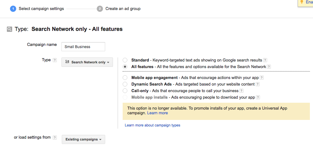 Setting Up Google AdWords Campaign