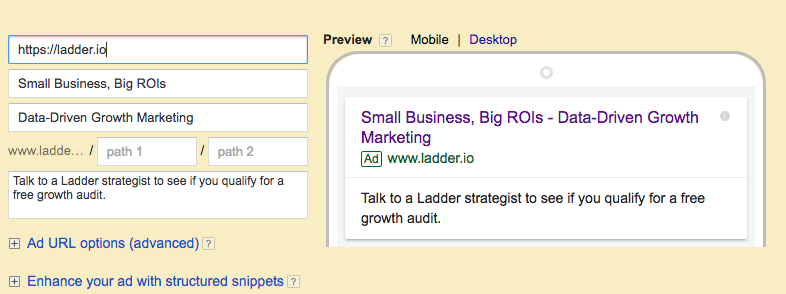 Google AdWords Text Ad Example 1