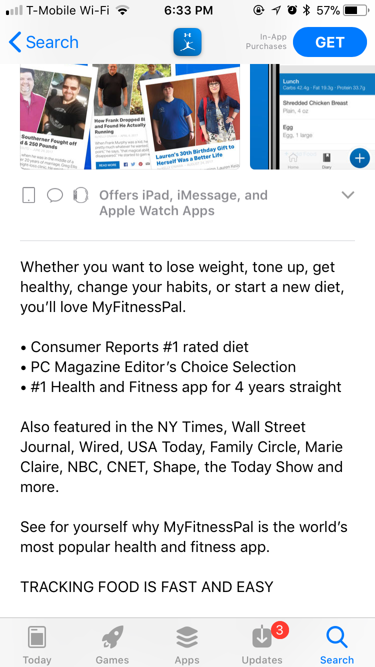 MyFitnessPal - Social Proof in Apple App Store