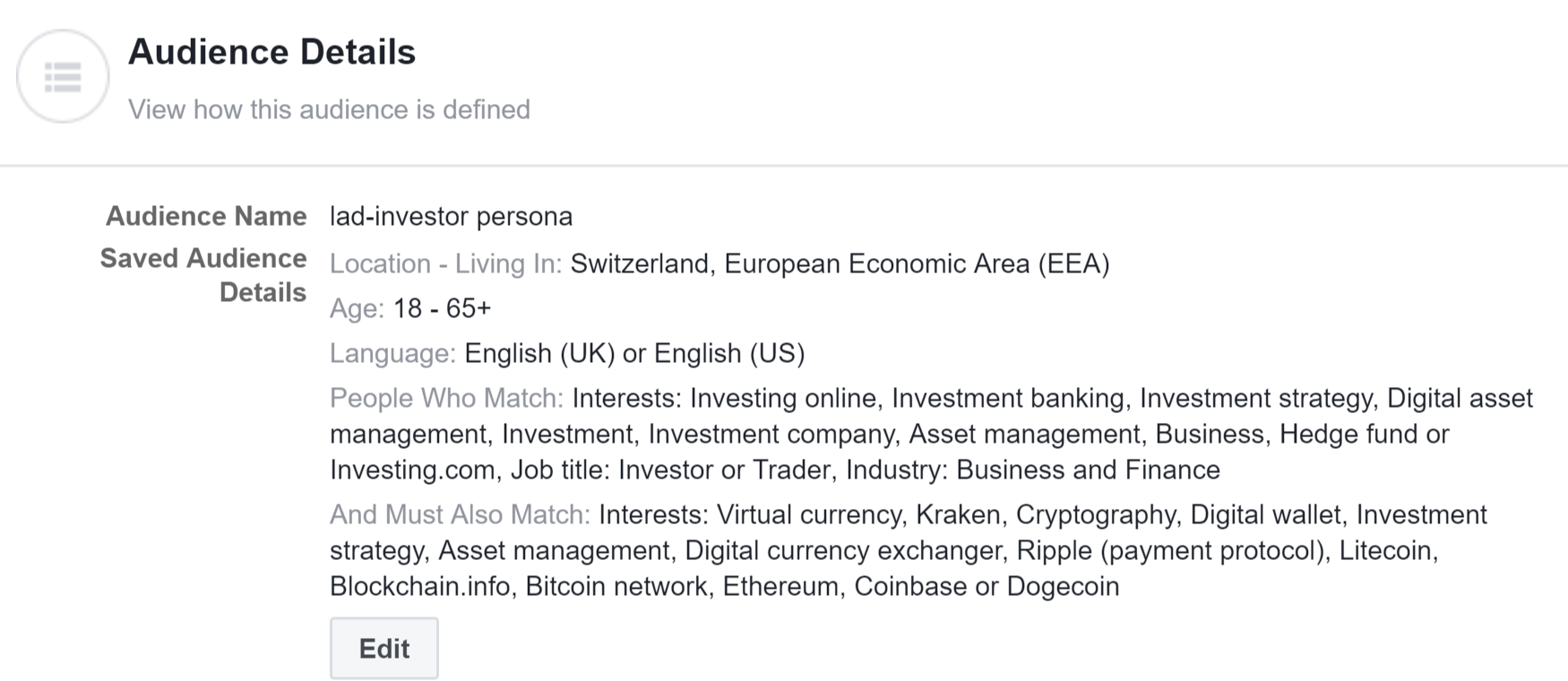 Investor Audience - Facebook Ads