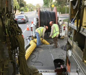 LADWP crews working to repair damaged cable in the 5400 block of Fulton Avenue