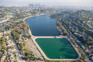 Aerial shot of LA's Silverlake Reservoir and Ivanhoe Reservoir.