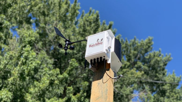 Image of a weather station at Bishop City Park in Bishop, California