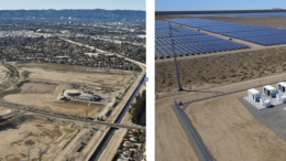 Aerial shot. On the left half, LADWP's Tujunga Spreading Grounds. On the right half, Beacon Solar and Battery Storage.