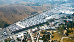 An aerial show of a large solar installation in LA's Lincoln Heights neighborhood.