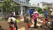 Image of people doing landscaping work on a front yard.