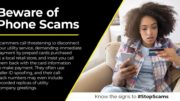 Image of woman holding a cellphone and a credit card. Text says, Beware of Phone Scams.