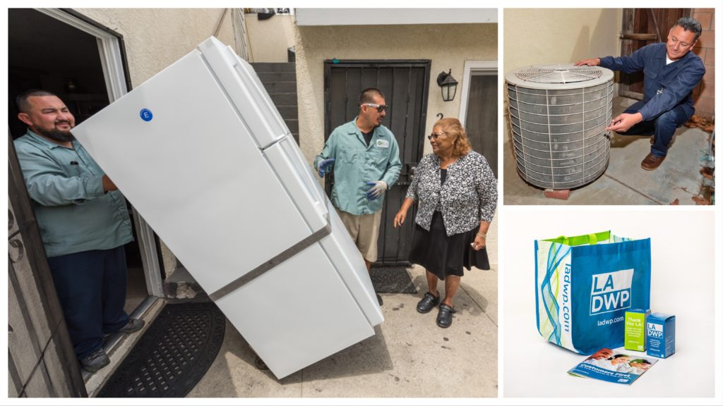 Image of a man pulling a refrigerator, a man next to an AC unit and an image of a bag