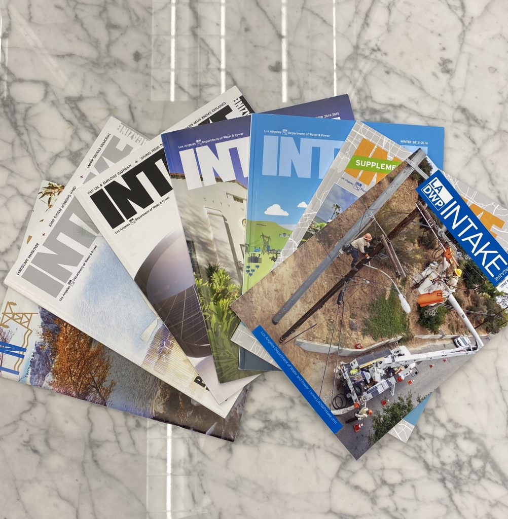 Image of of several magazines fanned out on a table
