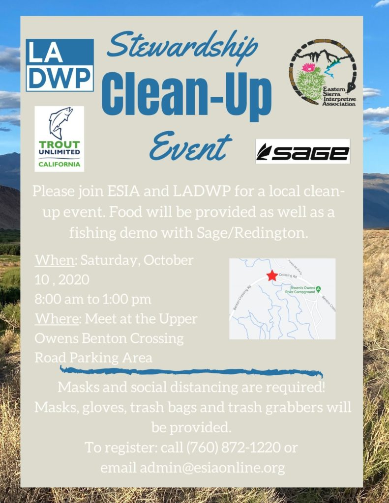 stewardship clean up event flyer with logos and event information.