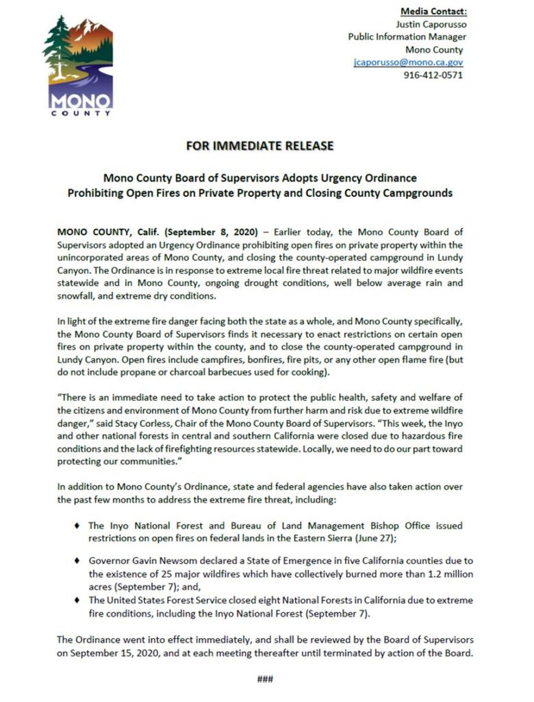 Picture of Press Release from Mono County