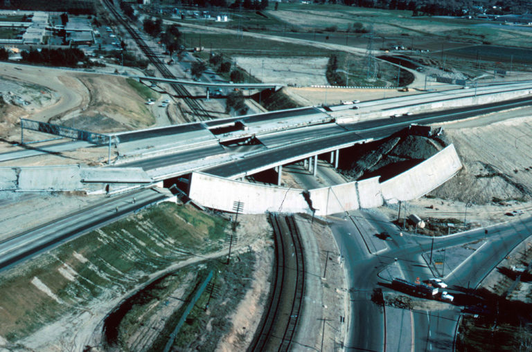 Image of a collapsed freeway