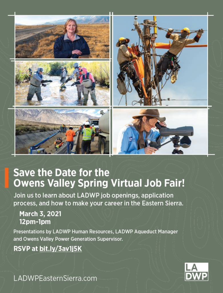 Flyer with call out to Save the Date for the Owens Valley Spring Virtual Job Fair. Pictures of LADWP employees