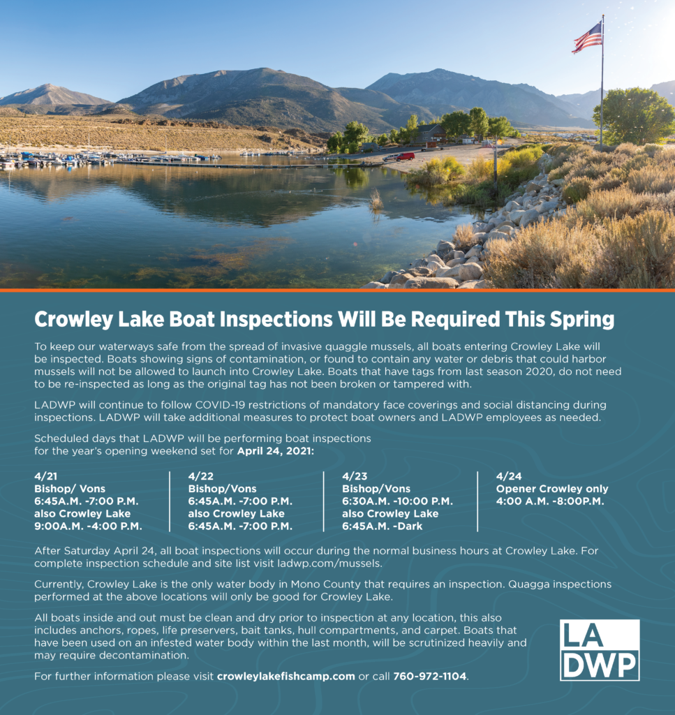 Image of Crowley Lake boat inspections public notice