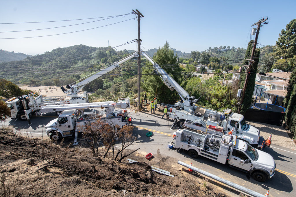 Image of LADWP power repairs on Mulholland Drive