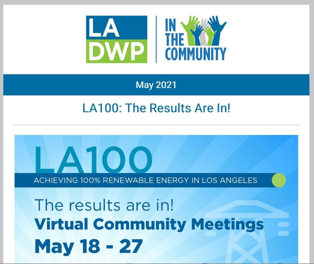 Image of text that reads LA 100 results are in