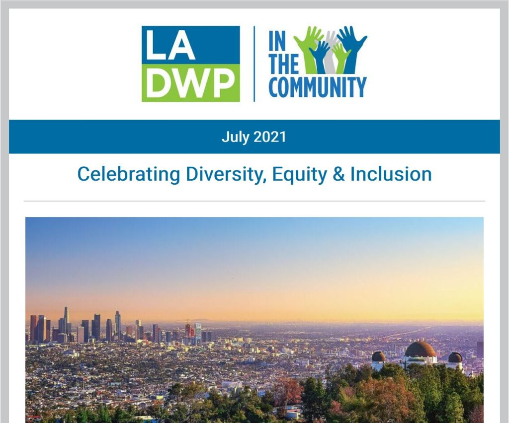 Image of the los angeles cityscape with text that reads celebrating diversity equity and inclusion