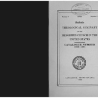 Bulletin (Theological Seminary of the Reformed Church in the United States (Lancaster, Pa.)), vol. 5 no. 2