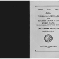 Bulletin (Theological Seminary of the Reformed Church in the United States (Lancaster, Pa.)), vol. 8 no. 1