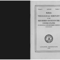Bulletin (Theological Seminary of the Reformed Church in the United States (Lancaster, Pa.)), vol. 10 no. 1