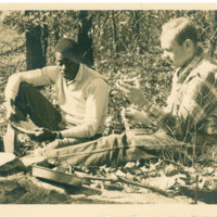 Bill Rader with Conrad Cherry exchange student from Howard - Appalachian Trail - 1953.jpg