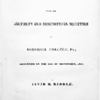 Genuine radicalism : an address before the Geothean and Diagnothian societies of Marshall College, Pa.; delivered on the 26th of September, 1843