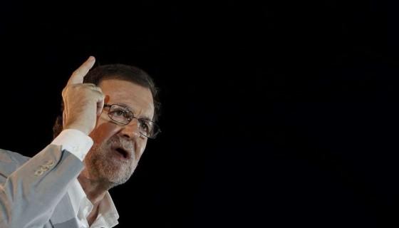 El candidato a la presidencia del Gobierno por el PP, Mariano Rajoy, durante el acto electoral de fin de campaña que los populares celebran esta noche en la madrileña plaza de Colón. LA PRENSA/EFE/Javier Lizón