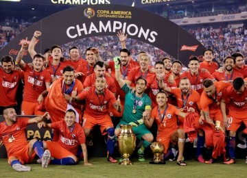 Chile celebra el título. LAPRENSA/EFE