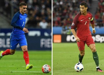 Griezmann y Cristiano cara a cara. LAPRENSA/AFP