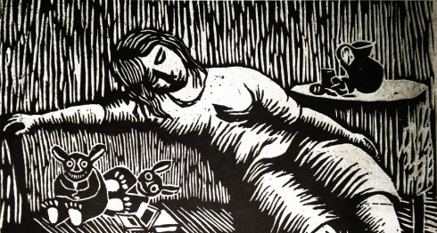 Mujer reclinada, Perú, 1975, linóleo de Leonel Cerrato. LAPRENSA/ARNULFOAGÜERO