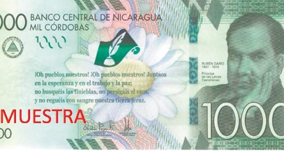 billetes de C$1,000, Nicaragua