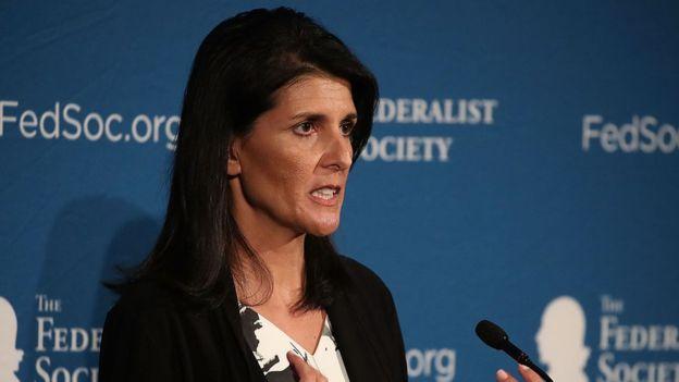Nikki Haley es la embajadora de Estados Unidos en la ONU. LA PRENSA/ ARCHIVO